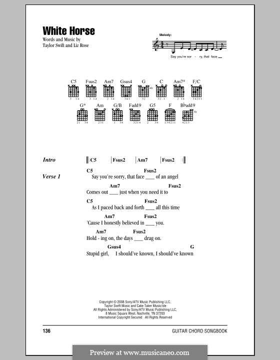 White Horse (Taylor Swift): Lyrics and chords (with chord boxes) by Liz Rose