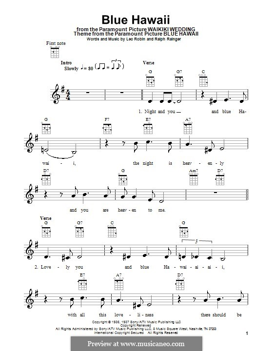 Blue Hawaii Elvis Presley By L Robin R Rainger On Musicaneo