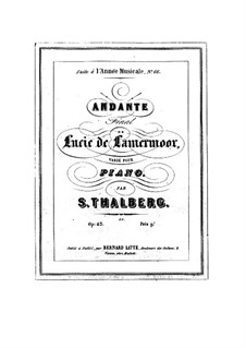 Variations on Theme from 'Lucia de Lammermoor' by Donizetti: Variations on Theme from 'Lucia de Lammermoor' by Donizetti by Sigismond Thalberg