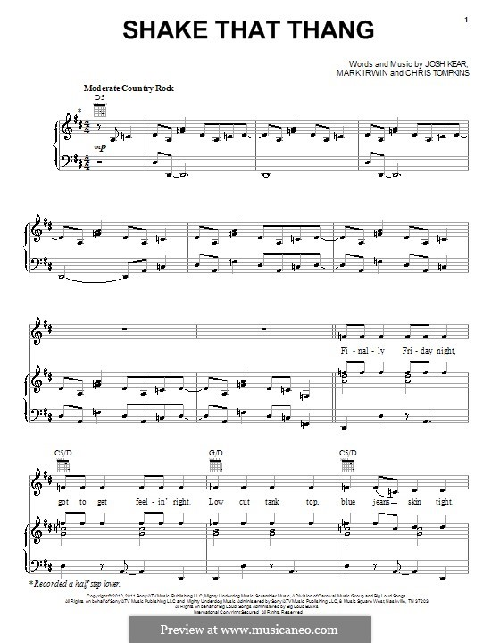 Shake That Thang (Gwyneth Paltrow): For voice and piano or guitar by Chris Tompkins, Josh Kear, Mark Irwin