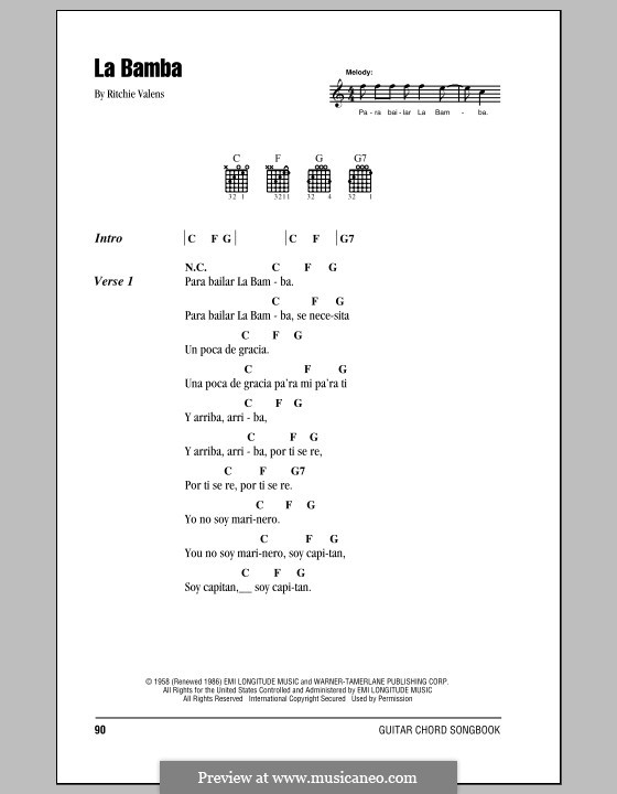 La Bamba by folklore, R. Valens - sheet music on MusicaNeo
