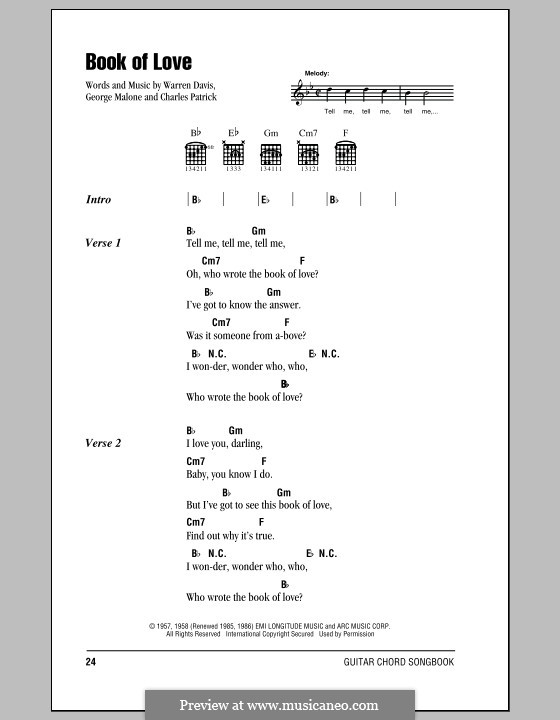 Book of Love (The Monotones): Lyrics and chords by Charles Patrick, George Malone, Warren Davis