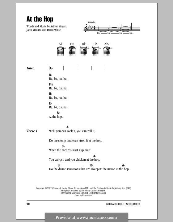 At the Hop (Danny & The Juniors): Lyrics and chords by Arthur Singer, David White, John Medora