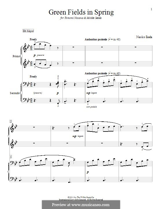 Green Fields in Spring: For piano four hands by Naoko Ikeda