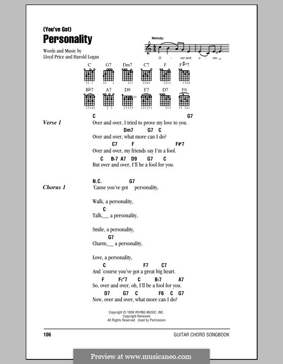 (You've Got) Personality: Lyrics and chords by Harold Logan