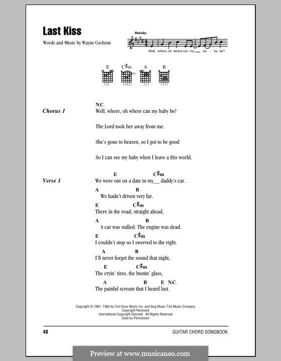 Last Kiss (J. Frank Wilson): Lyrics and chords by Wayne Cochran