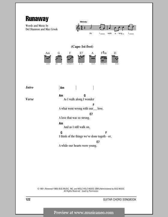 Runaway: Lyrics and chords by Del Shannon, Max Crook