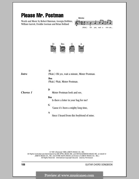 Please Mr. Postman: Lyrics and chords (The Beatles) by Brian Holland, Freddie Gorman, Georgia Dobbins, Robert Bateman, William Garrett
