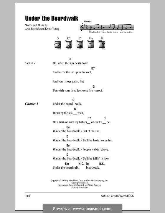 Under the Boardwalk (The Drifters): Lyrics and chords by Art Resnick, Kenny Young