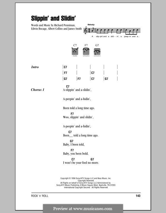 Slippin' and Slidin': Lyrics and chords by Little Richard, Albert Collins, Edwin Bocage, James Smith