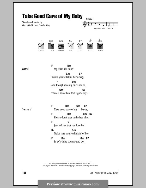 Take Good Care of My Baby (Bobby Vee): Lyrics and chords by Carole King, Gerry Goffin