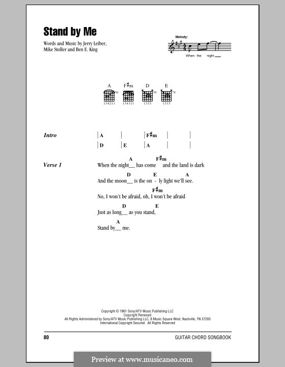 Stand By Me: Lyrics and chords by Ben E. King, Jerry Leiber, Mike Stoller