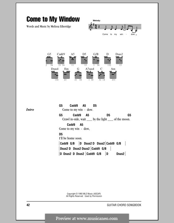 Come To My Window By M Etheridge Sheet Music On Musicaneo