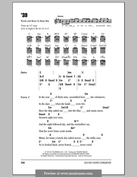 '39 (Queen): Lyrics and chords by Brian May