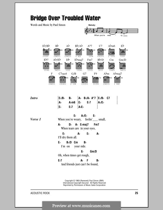 Bridge Over Troubled Water: Lyrics and chords by Paul Simon