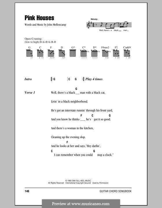Pink Houses: Lyrics and chords by John Mellencamp