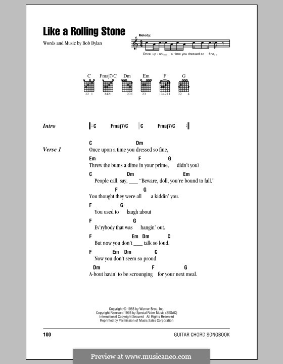 Like A Rolling Stone By B Dylan Sheet Music On Musicaneo
