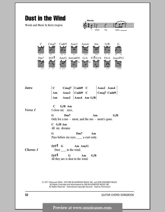 Dust in the Wind (Kansas): Lyrics and chords by Kerry Livgren