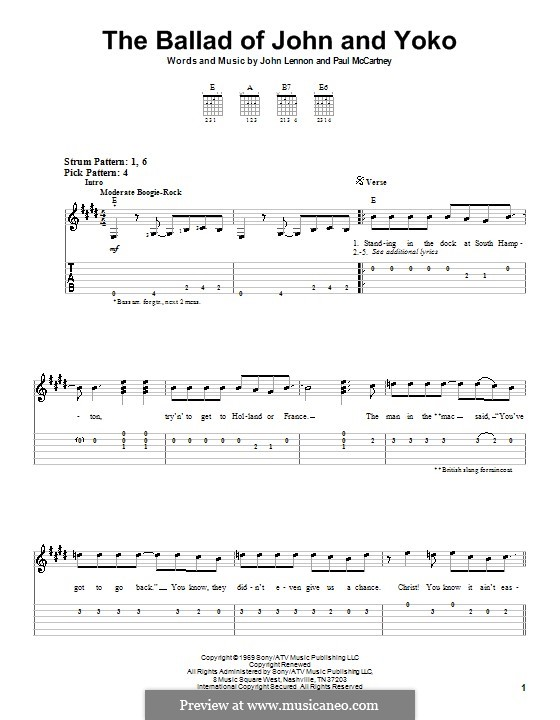 The Ballad of John and Yoko (The Beatles): For easy guitar with tabulature by John Lennon, Paul McCartney