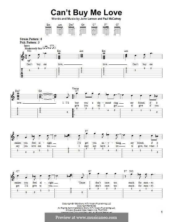 Can't Buy Me Love (The Beatles): Easy guitar tab by John Lennon, Paul McCartney