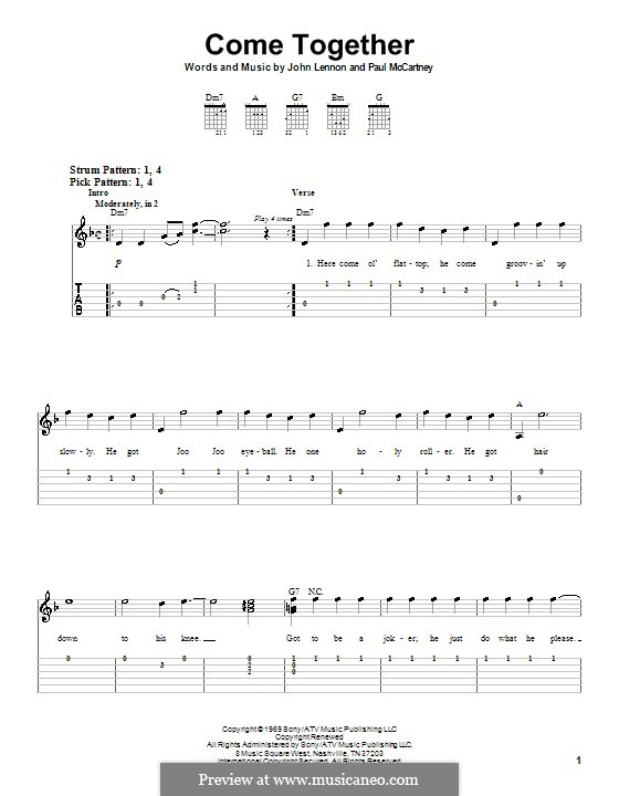 Come Together (The Beatles): For easy guitar with tabulature by John Lennon, Paul McCartney