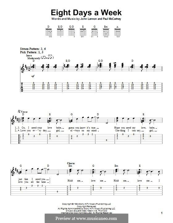 Eight Days a Week (The Beatles): For easy guitar by John Lennon, Paul McCartney