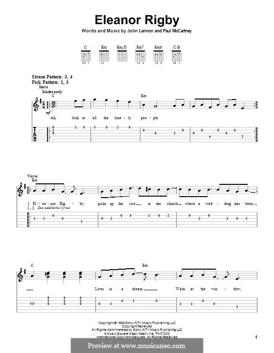 Eleanor Rigby (The Beatles): For easy guitar with tabulature by John Lennon, Paul McCartney