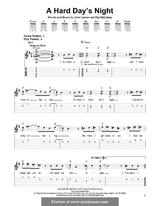 A Hard Day's Night (The Beatles): For easy guitar by John Lennon, Paul McCartney