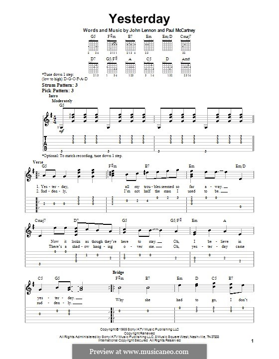 Yesterday (The Beatles): For easy guitar with tabulature by John Lennon, Paul McCartney
