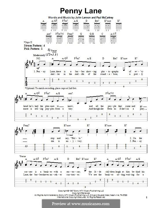 Penny Lane (The Beatles): For easy guitar by John Lennon, Paul McCartney