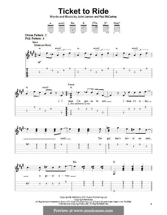 Ticket to Ride (The Beatles): For easy guitar with tabulature by John Lennon, Paul McCartney