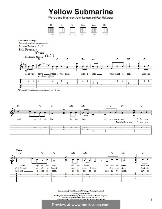 Yellow Submarine (The Beatles): For easy guitar with tabulature by John Lennon, Paul McCartney