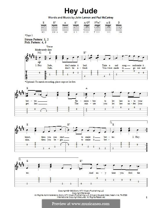 Hey Jude (The Beatles), for One Instrument: Easy guitar tab by John Lennon, Paul McCartney