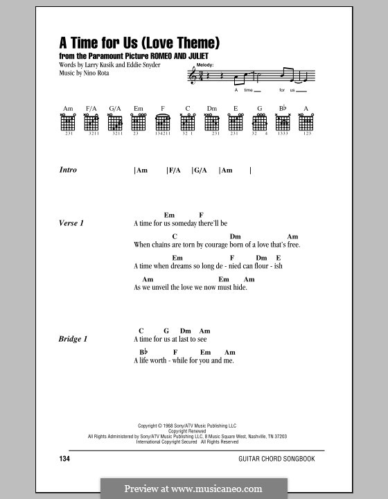 A Time for Us (Love Theme from Romeo and Juliet): Lyrics and chords by Nino Rota