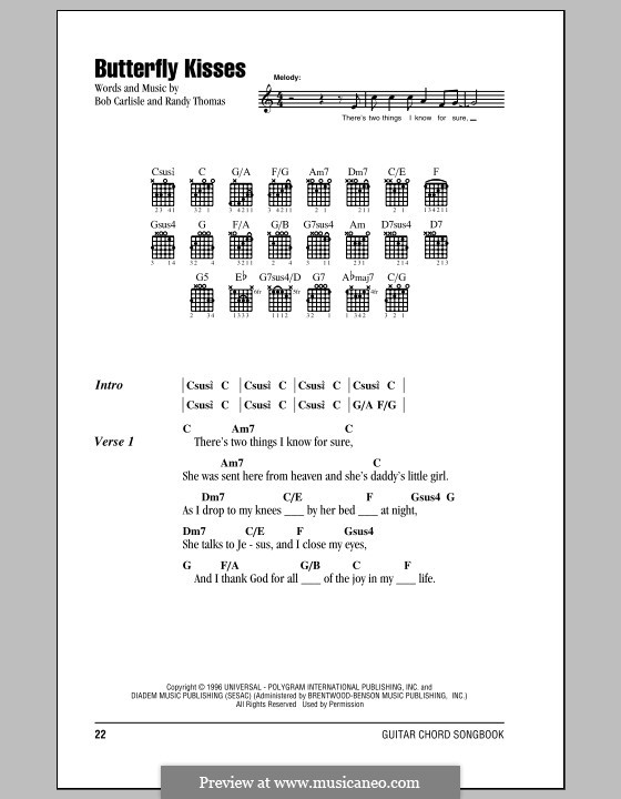 Butterfly Kisses: Lyrics and chords by Randy Thomas