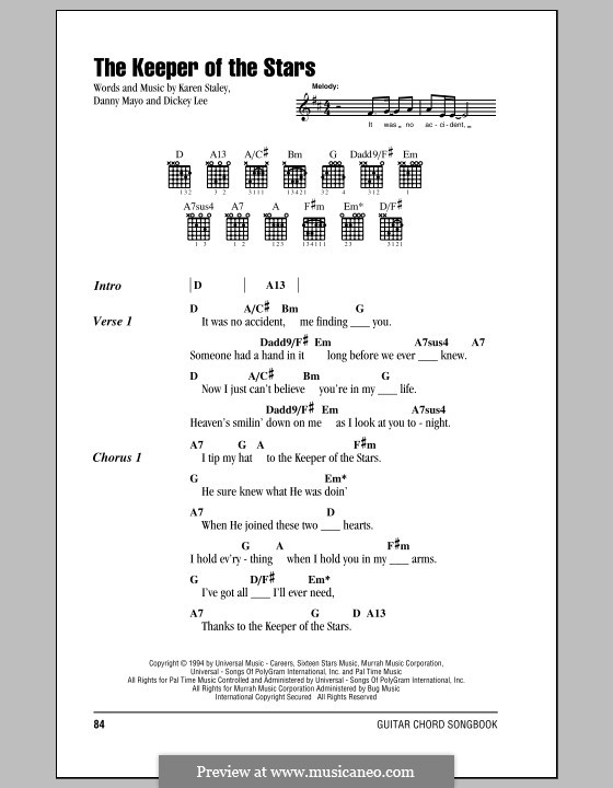 The Keeper of the Stars (Tracy Byrd): Lyrics and chords by Danny Mayo, Dickey Lee, Karen Staley