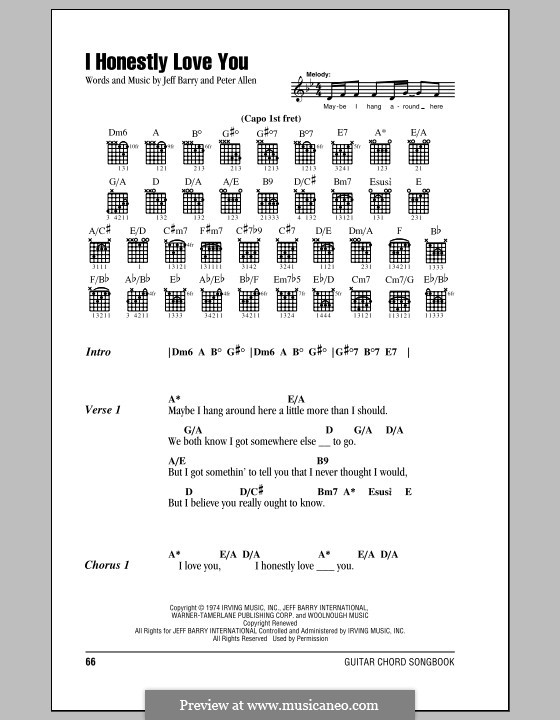 I Honestly Love You: Lyrics and chords by Jeff Barry, Peter Allen