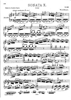 Sonata for Piano No.10 in C Major, K.330: With fingering by Wolfgang Amadeus Mozart