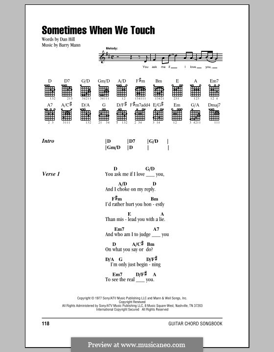 Sometimes When We Touch (Dan Hill): Lyrics and chords by Barry Mann