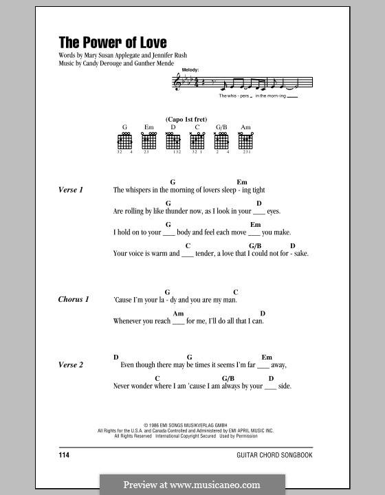 The Power of Love: Lyrics and chords (Celine Dion) by Candy Derouge, Gunther Mende, Jennifer Rush, Mary Susan Applegate