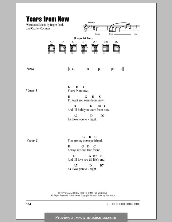 Years from Now: Lyrics and chords by Charles Cochran, Roger Cook