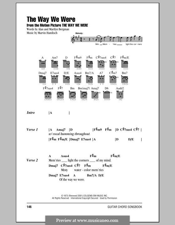 The Way We Were (Barbra Streisand): Lyrics and chords by Marvin Hamlisch