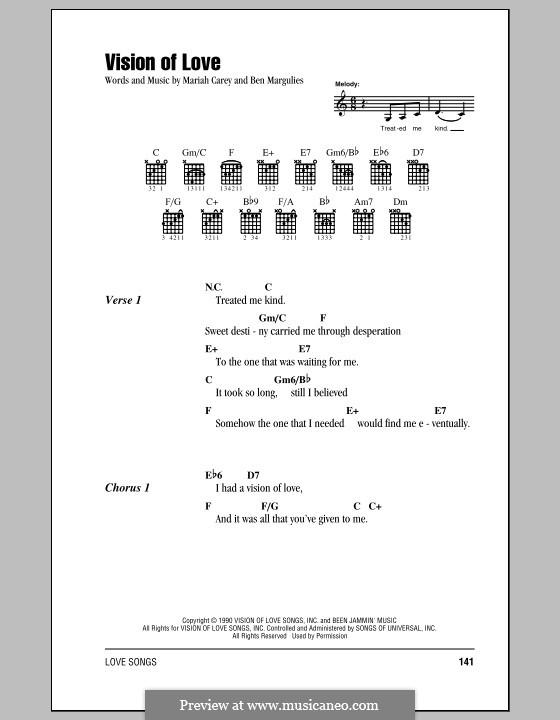 Vision of Love (Mariah Carey): Lyrics and chords by Ben Margulies