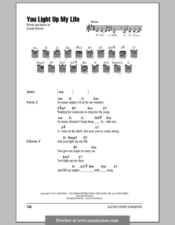 You Light Up My Life by J. Brooks - sheet music on MusicaNeo