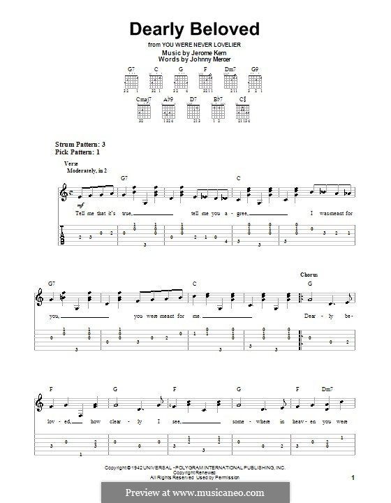 Dearly Beloved: For easy guitar with tabulature by Jerome Kern