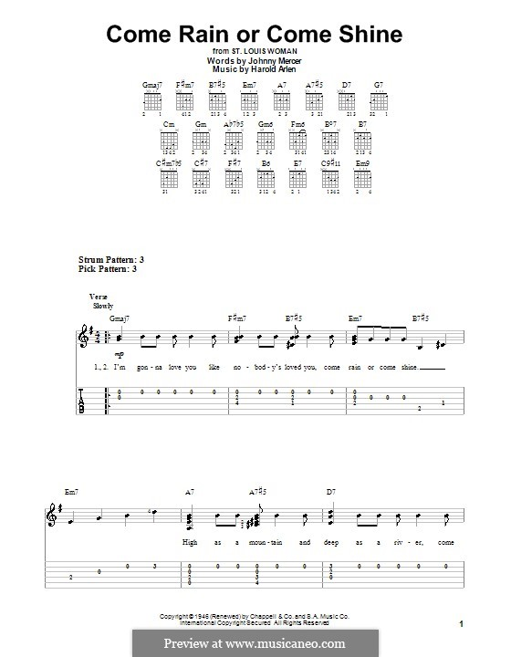 Come Rain or Come Shine: For easy guitar by Harold Arlen