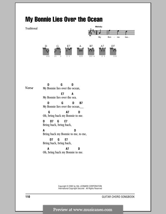 My Bonnie is over the Ocean: Lyrics and chords by folklore