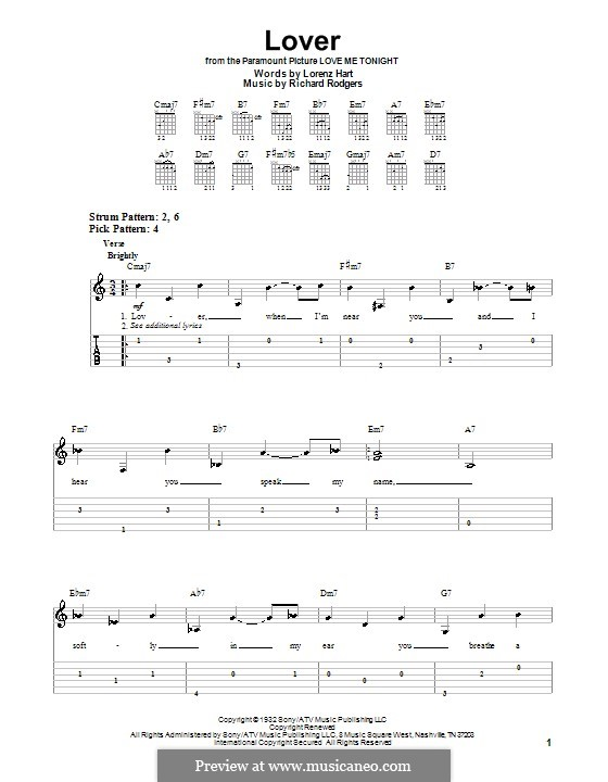 Lover: Easy guitar tab by Richard Rodgers