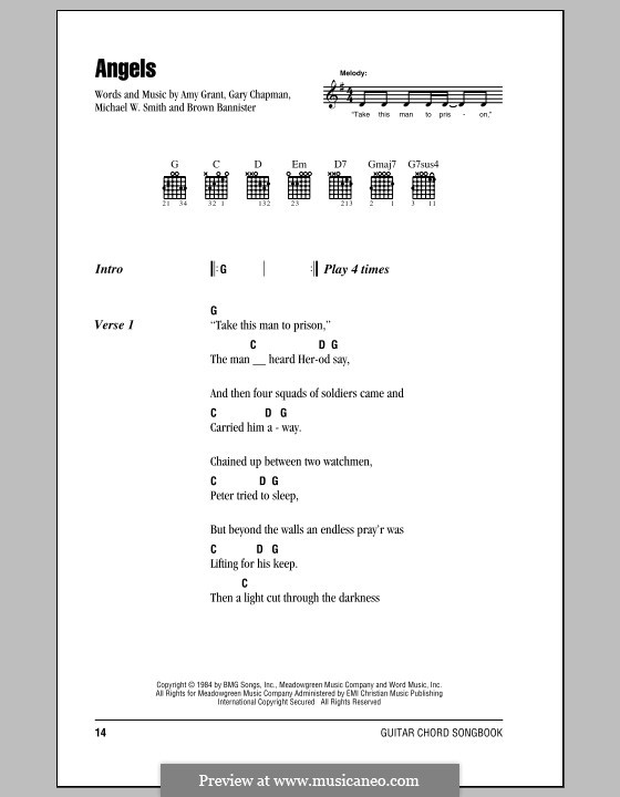 Angels: Lyrics and chords by Amy Grant, Brown Bannister, Gary Chapman, Michael W. Smith