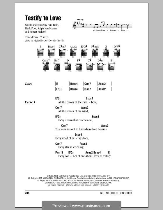 Testify to Love (Avalon): Lyrics and chords by Henk Pool, Paul Field, Ralph Van Manen, Robert Riekerk